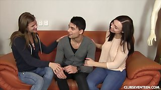 Lucky guy picked up with an increment of fucked two sluts in front same time. HD