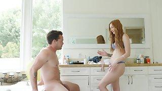 Cam sex shows ginger slut taking deal of her man's dick