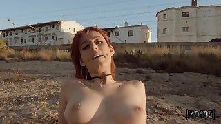 Redhead leggy minx Piikara Blood rides Jordi El Nino Polla outdoor