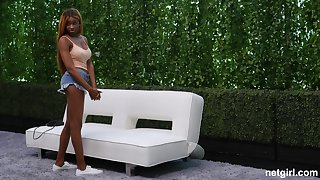 Long haired busty ebony babe Kinsley fucked hard on the casting couch