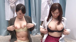 Hardcore group pussy fuck with couple of Japanese babes