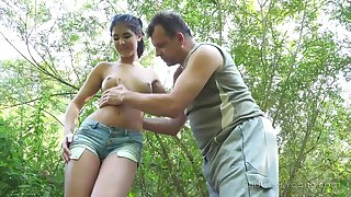 Yum-yum teen Little one Dee is fucked by kinky married guy in the bushes